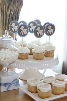 Take a look at these beautiful lamb themed cupcakes at this fantastic Baptism! See more ideas and share yours at CatchMyParty.com