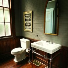 Pressed tin wall. Wainscoting. Large sink with piping. : bathroom remodel