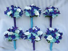 Keri's Bridemaids Bouquets Aqua by ArtisticFloralDesign on Etsy