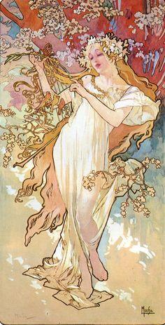 The Athenaeum - The Four Seasons: Spring (Alfons Maria Mucha - )