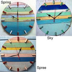 @Overstock - Materials: Recycled boat wood  Colors: Blue, yellow, white, green  Finish: Lead free painthttp://www.overstock.com/Worldstock-Fair-Trade/Recycled-Boat-Wood-Beach-House-Clock-Thailand/6364916/product.html?CID=214117 $82.99