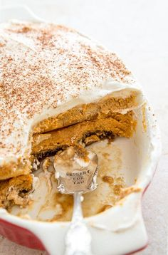 Pumpkin Spice Latte Tiramisu. AAAAAHHHH!!!!!  With mascarpone cheese and lady fingers and espresso and rum....annnnnnd puuummmmmpkin! - this is no joke.