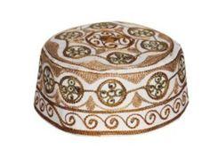 Muslim Prayer Cap Kufi Topi with Brown Beautiful Round Shaped Embroidery 85f486e5f7