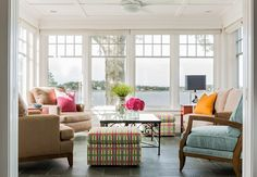 Colorful Waterfront Home, Hingham MA - transitional - Sunroom - Boston - Elizabeth Swartz Interiors