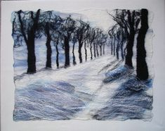 'Avenue of Trees in Winter'.  Merino and mulberry silk.
