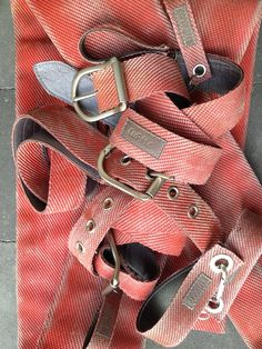 Belts, made of the used firehose, with leather lining.
