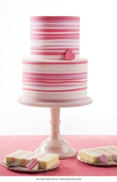 Cake Design Pink Striped Heart Cake Tutorial - any color! Gorgeous Cakes, Pretty Cakes, Cute Cakes, Amazing Cakes, Fondant Cakes, Cupcake Cakes, Fondant Tips, Striped Cake, Tout Rose