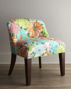 """Shop """"Canna"""" Vanity Chair from Lilly Pulitzer at Horchow, where you'll find new lower shipping on hundreds of home furnishings and gifts. Chair And Ottoman, Sofa Chair, Home Decor Furniture, Home Furnishings, Painted Furniture, Furniture Design, Dorm Chairs, Lilly Pulitzer Fabric, Lily Pulitzer"""