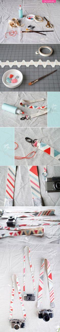 Tuunaa kameranhihnat ja muut kankaiset remmit persoonallisiksi yksinkertaisin maskiteippauksin ja kangasvärien avulla!    Fun DIY! Make some too with fabric paint, so easy! #kankaanpainanta #kuviointi #tuunaus #prints #fabric #easy #diy