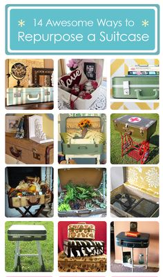 I love the way a vintage suitcase looks as part of home decor. Now you can get the look with these 14 awesome ways to repurpose a suitcase! Repurposed Furniture, Diy Furniture, Deco Dyi, Pallette, Vintage Suitcases, Vintage Luggage, Repurposed Items, Trash To Treasure, Reuse Recycle