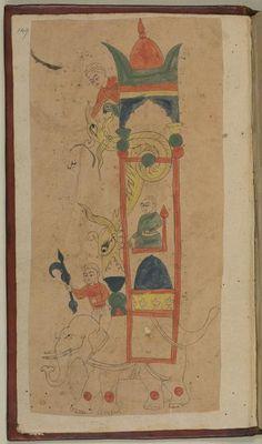 al-Jazarī's famous 'Elephant Clock'. From: al-Jazarī, The Book of Knowledge of Ingenious Mechanical Devices. Or. 116, f. 149r