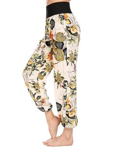 Zeagoo Women's Casual Floral Print High Waist loose Harem Pants Lounge *** Read more at the image link. (This is an affiliate link) #PalazzoPants