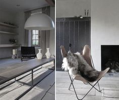 Rough-sawn, bleached wood flooring is covered with a natural-fiber striped rug, at left. (Cooreman offers a variety of similar Rugs for sale on her shop site, called Moka Tales.) At right, the designer'sAA Chair in natural leather.