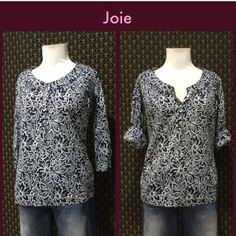 Joie Cotton Henley Blouse Woven cotton with a navy blue and white print. Henley style buttons, 3/4 sleeves, great condition.  **  Prices are as listed- Nonnegotiable.  I'm happy to bundle to save shipping costs, but there are no additional discounts.  No trades, paypal or condescending terms of endearment  ** Joie Tops Blouses