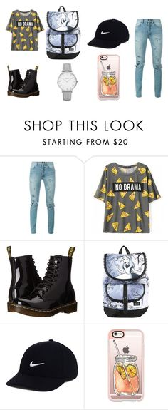"""Untitled #8"" by alexandramaticiuc-1 on Polyvore featuring Yves Saint Laurent, Dr. Martens, Disney, NIKE, Casetify and Topshop"