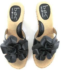 568b057ea BORN BOC Shoes 6 M Platform WEDGES Black Leather FLOWER Sandals Womens  Born   PlatformsWedges