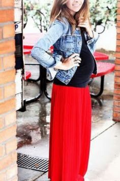 pregnancy fashion-I would probably go against the jean jacket.  Super cute outfit though.