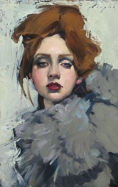 """Grey Feather Boa"" - Malcolm T. Liepke (b. 1953), oil on canvas {figurative impressionist art beautiful female redhead woman face portrait painting #loveart}"