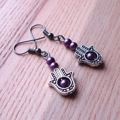 Purple Hand Charm Earrings