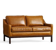 Dale Leather Loveseat #potterybarn