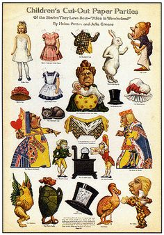 Vintage Alice in Wonderland--Paper Dollls/Cut-Outs from Finsbry