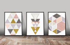 Set Of 3 Art Geometric Prints Set Of 3 Minimalist Prints Set
