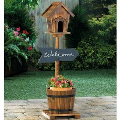 Welcome Birdhouse Rustic Barrel Planter