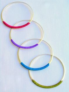 Handmade Bangles-Sterling Silver-Colorful Cord-Matte Finish silver bangle color cords hand made modern style bracelet woman silver 38.00 EUR #goriani