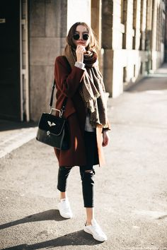 skinny jeans with coat and shawl