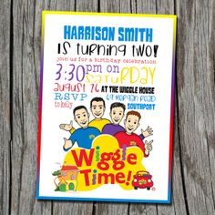 THE WIGGLES Birthday Invitation  Wiggle Time  by EmbellisheDesigns Wiggles Birthday, Wiggles Party, 3rd Birthday, Birthday Ideas, Wiggles Cake, The Wiggles, Birthday Celebration, Birthday Parties