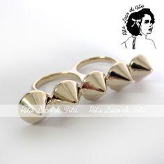 Anel Duplo Spike - Dourado PRONTA ENTREGA Anel de dois dedos em banho dourado Tamanho 17