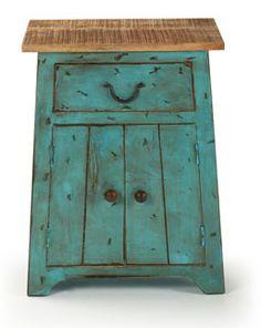 Mesilla vintage de madera envejecida color turquesa