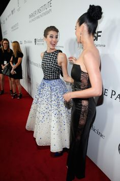 Allison Williams and Katy Perry attend the launch of the Parker Institute for Cancer Immunotherapy