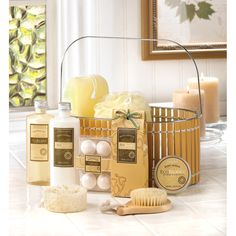 Warm vanilla spa basket.  A sweet and spicy vanilla scent wraps you in its comforting embrace, healing tired skin (and spirit) from head to toe.  An entire ensemble of spa-quality indulgences, from bath fizzers to exfoliating scrubbers, leaves you feeling relaxed, refreshed and ready to greet the day!