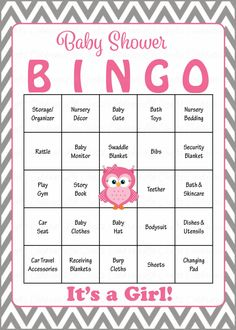 Owl Baby Bingo Cards - Printable Download - Prefilled - Baby Shower Game for Girl - Pink & Gray