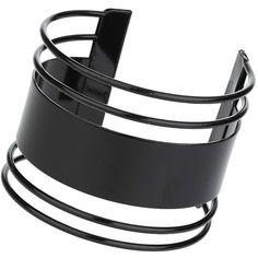 TopShop Black Wide Bar Cuff ($14) ❤ liked on Polyvore featuring jewelry, bracelets, black, black metal jewelry, topshop, black metal bangles, black bangles and cuff jewelry