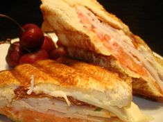2 slices Texas toast thick bread  3 ounces deli turkey , sliced thin  1 slice bacon , cooked crisp  2 slices tomatoes  mayonnaise  1 slice swiss cheese (I use light)  drizzle olive oil or butter-flavored cooking spray  Directions:    1  Assemble sandwich using all ingredients except oil. Brush oil on bread or spray with butter.  2  Cook until sandwich is crisp on the outside and cheese has melted.