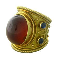 Elizabeth Gage 18k Yellow Gold Carnelian Sapphire Cabochon Ring / Marked;750,English Marks,gage