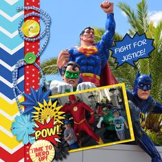 My Grandsons met their Superheros at Movie World. Template: Brenian Designs Frame It Up Large.  http://www.godigitalscrapbooking.com/shop/index.php?main_page=product_dnld_info&cPath=29_377&products_id=26121  Kit: Super Heroes by Meagan's Creations