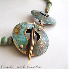 Foldforming nu-gold (red brass) elements and green jasper   Handmade by Beads and Tricks