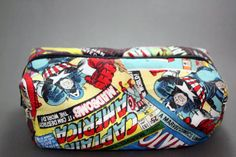 Boxy Marvel Comic Print Makeup Bag or Pencil Pouch with Zipper by LittlePeachFuzz, $8.00