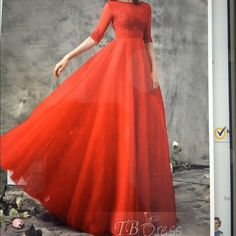 """Lace Floor Length Evening Gown Brand new, never worn evening gown/prom dress. Dress is a pearl pink color with sequence and rhinestone detail on the bust and arms. Floor length gown about 60"""" from shoulder to floor Dresses Prom"""