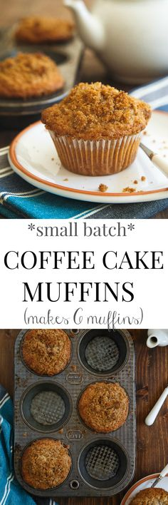 Coffee Cake Muffins Recipe (small batch) – Dessert for Two Small batch of muffins: the best coffee cake muffins with SO MUCH crumb topping, you'll cry! Small recipe only makes 6 muffins. Mini Desserts, Small Desserts, Just Desserts, Delicious Desserts, Yummy Food, Easter Desserts, Oreo Dessert, Dessert For Two, Coffee Dessert