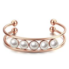 Caperci Rose Gold Plated Stainless Steel and Pearl Beaded Cuff Bracelet *** You…