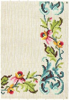 This Pin was discovered by Гал Cross Stitch Borders, Cross Stitch Rose, Cross Stitch Flowers, Cross Stitch Patterns, Embroidery Patterns Free, Embroidery Fabric, Vintage Borders, Vintage Cross Stitches, Ribbon Work
