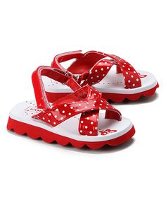 L'Amour Shoes Red Polka Dot Eva Sandal on #zulily *too flippin cute