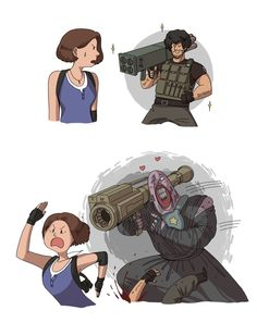 """""""Comic commission for You can't run away from love Jill! Carlos Resident Evil, Resident Evil Nemesis, Resident Evil Franchise, Resident Evil Anime, Resident Evil 3 Remake, Star Trek Enterprise, Star Trek Voyager, Devil May Cry, Jill Valentine"""