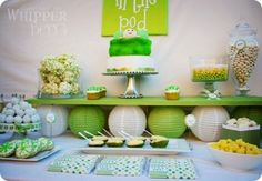 Cute pea in a pod baby shower theme ideas! Perfect for a twin baby shower!