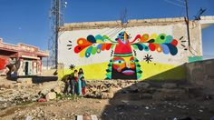 Dubai-based artist Ruben Sanchez is currently exploring the Syrian border where he just finished working on this colourful mural.