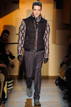 Les Hommes Leather Trim Padded Gilet